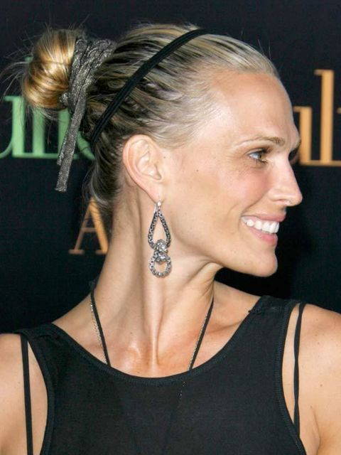 """<p>Like a magpie, Molly Sims has gone crazy for sparkly <a href=""""http://www.elleuk.com/beauty/hair/hair-features/%28section%29/hair-accessories"""">accessories</a>. We give her points for trying, but perhaps she should have chosen either the hairband or the"""