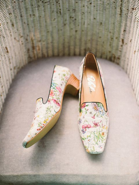 <p>I spent a really long time looking for shoes, and nothing felt quite right. I was hoping for a slipper-style front with a mid-heel so it wouldn't sink into wet grass, and in the end, I got a floral pair made (very inexpensively) at Vickie in Hong Kong.