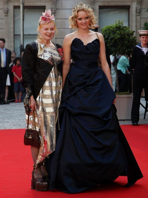 <p>Dame Vivienne Westwood and Lily Cole at A Celebration of the Arts</p>
