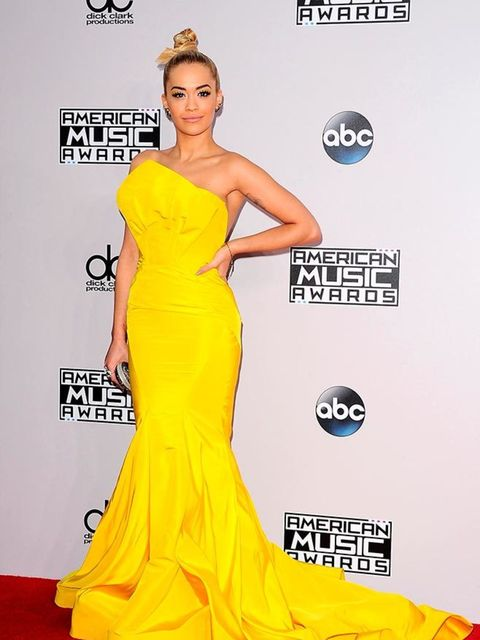 <p>Rita Ora wears Zac Posen at the American Music Awards in LA, November 2014.</p>