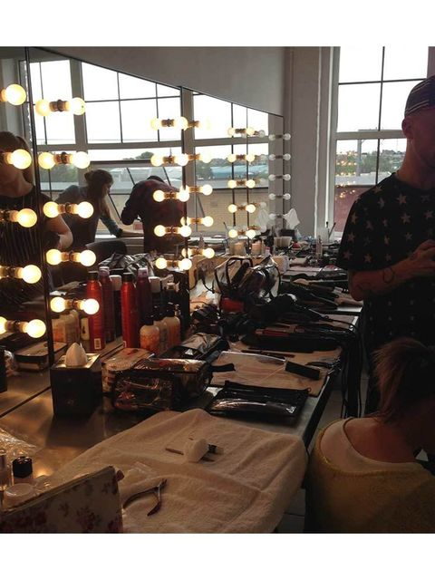 <p>First stop, hair and make-up.</p>