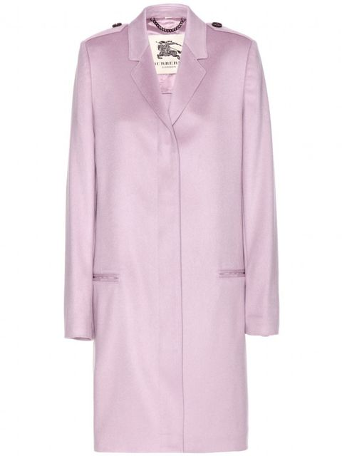 "<p>Lilac is the new black (don't you know).</p>  <p>Burberry coat, £1,495, from <a href=""http://www.mytheresa.com/en-gb/inverhill-cashmere-coat.html"">My-theresa.com</a><br />  </p>"