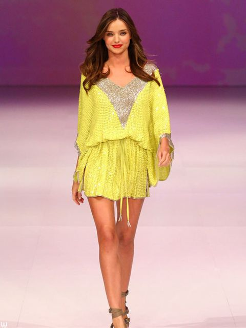 "<p><a href=""http://www.elleuk.com/starstyle/style-files/(section)/miranda-kerr"">Miranda Kerr</a> opened the David Jones spring/summer fashion show wearing a chartreuse sequinned kaftan by Camilla.</p>"