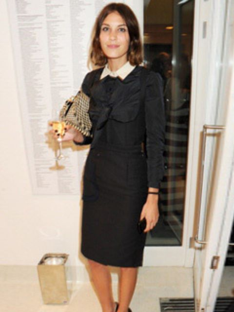 """<p><a href=""""http://www.elleuk.com/starstyle/style-files/(section)/alexa-chung"""">Alexa Chung</a> teams her shift dress with white collared shirt for the Serpentine Summer party 2011 in London, June 2011.</p>"""