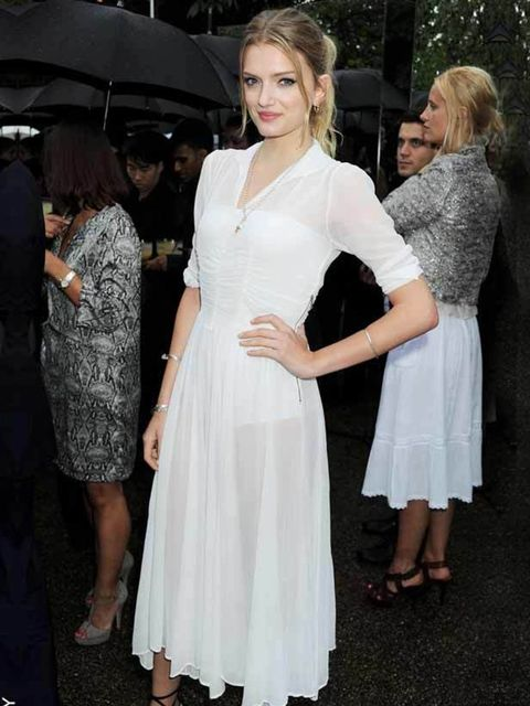 <p>Lily Donaldson looks lovely in white for the Serpentine summer party in London, June 2011.</p>