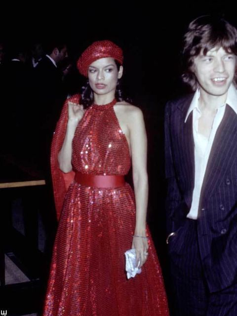 <p>Bianca Pérez-Mora Macias wore a white YSL suit to marry Mick Jagger in St Tropez in 1971, becoming an icon of '70s glamour in the years that followed. The pair split in 1978.</p>