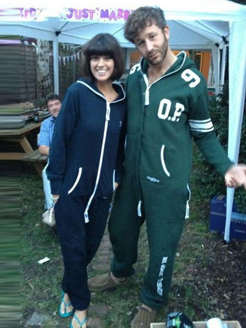<p>In the notorious onesie</p>