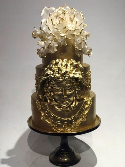 Wo else could this gold cake belong to other than Donatella Versace? Lady Gaga posted a snap of the cake along with a birthday greeting for Madame Versace.