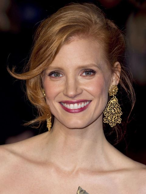 <p>ELLE magazine is putting its money on flame-haired Jessica to come up trumps at awards season for her supporting role in The Tree of Life with Brad Pitt. She's not afraid of a bold kohl-rimmed eye or a bright lip, so whether she takes home a mantelpiec
