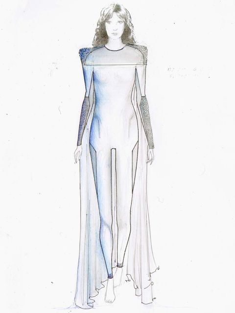 <p>Hannah Marshall's final sketch of her design for Florence Welch</p>