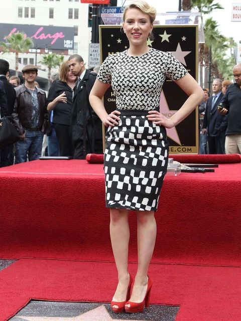 <p>Scarlett Johansson wore Preen to receive her star on the Hollwood Walk of Fame</p>