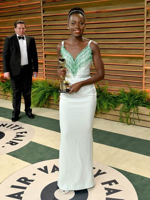 <p>Lupita Nyong'o wearing Miu Miu at the 2014 Vanity Fair Oscar Party.</p>