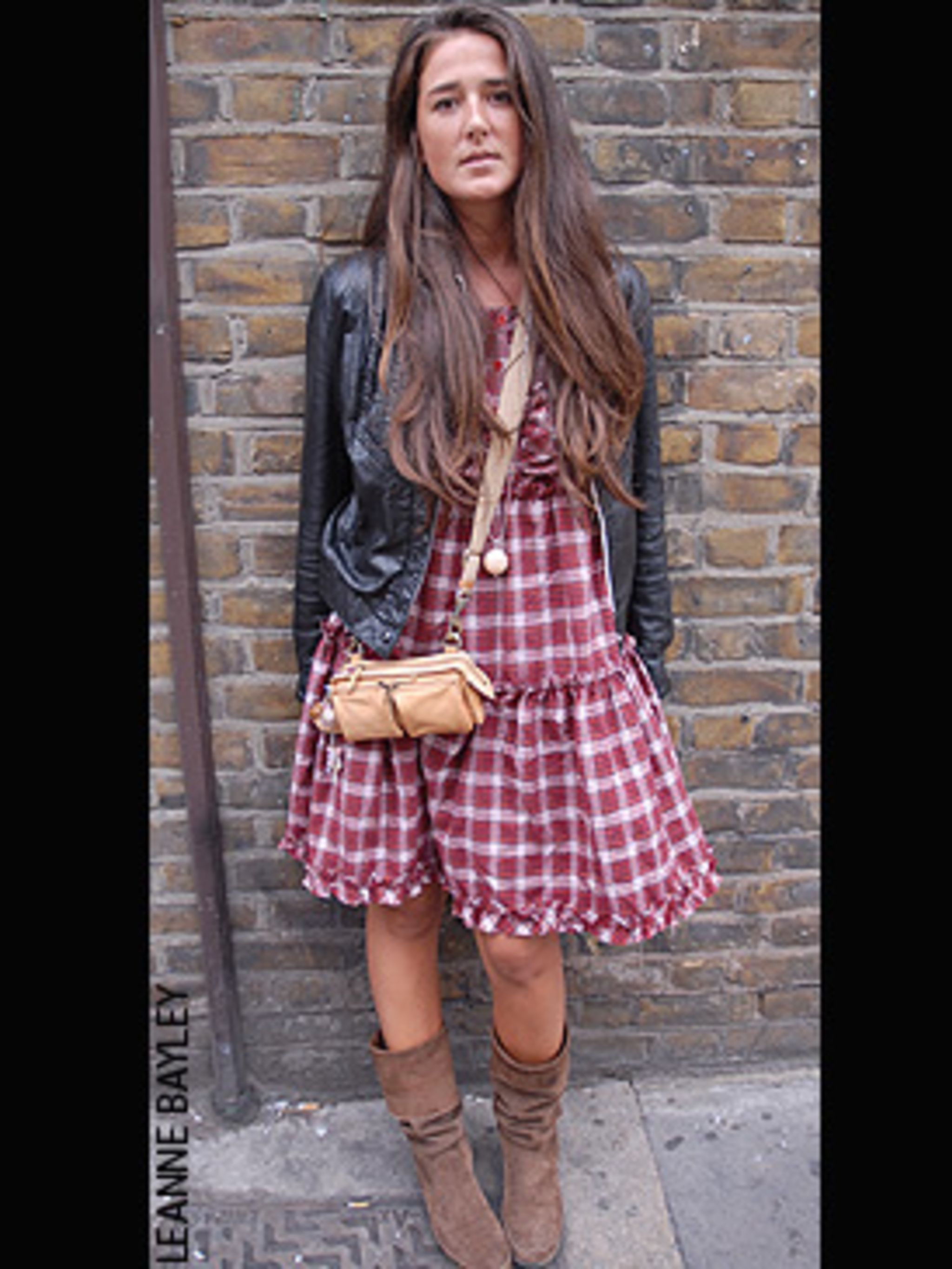 <p>This is the perfect transitional look to carry you through from what remains of the summer to the cooler months. The leather jacket is the perfect finish to the look - all that tartan teamed with the brown boots could look a little bit hillbilly withou