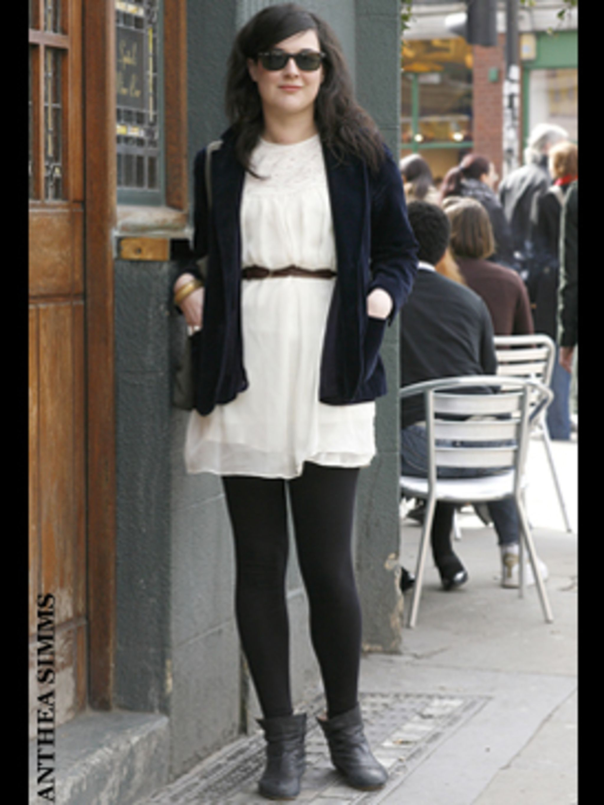 <p>Take a lesson in summer dressing from Nicola - she's got her outfit just right. She's taken a simple white Topshop dress and teamed it with vintage finds to make the look her own. We love the addition of the velvet jacket - it smartens up the dress and
