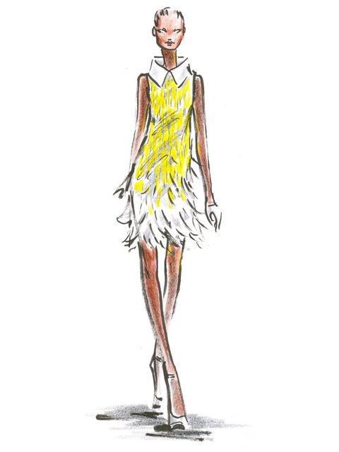 <p>A sketch of Look 6 from Nicholas Oakwell's S/S '12 couture collection.</p>