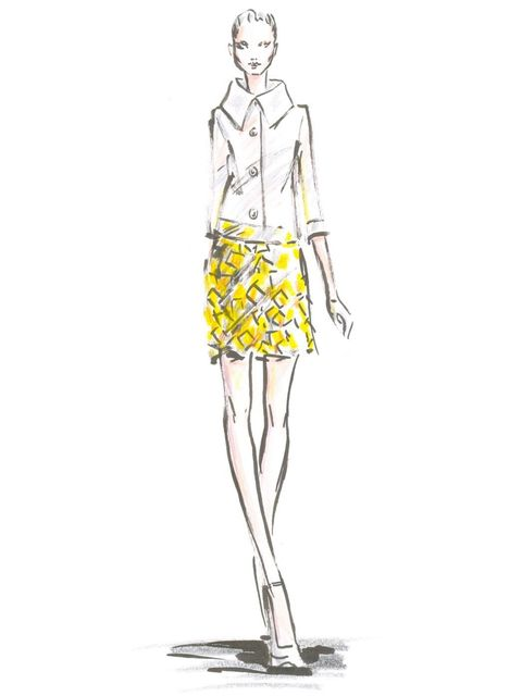<p>A sketch of Look 7 from Nicholas Oakwell's S/S '12 couture collection.</p>