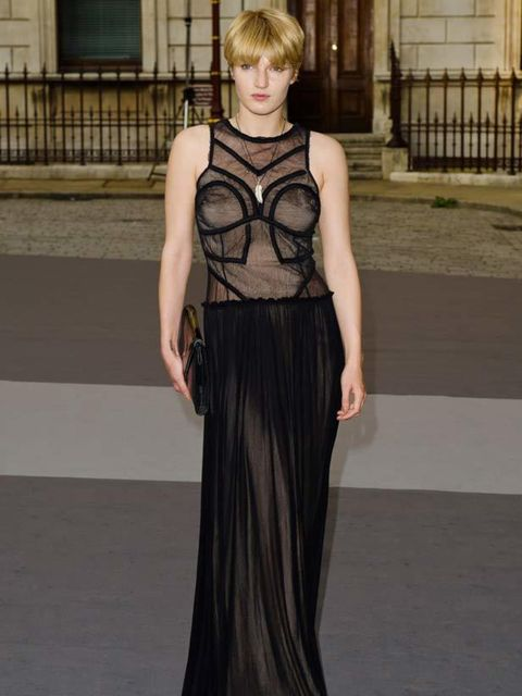 """<p>Model <a href=""""http://www.elleuk.com/content/search?SearchText=Ben+Grimes&SearchButton=Search"""">Ben Grimes</a> in a sheer black maxi dress at the The Royal Academy of Arts' Summer Exhibition Preview Party, 2 June 2011</p>"""