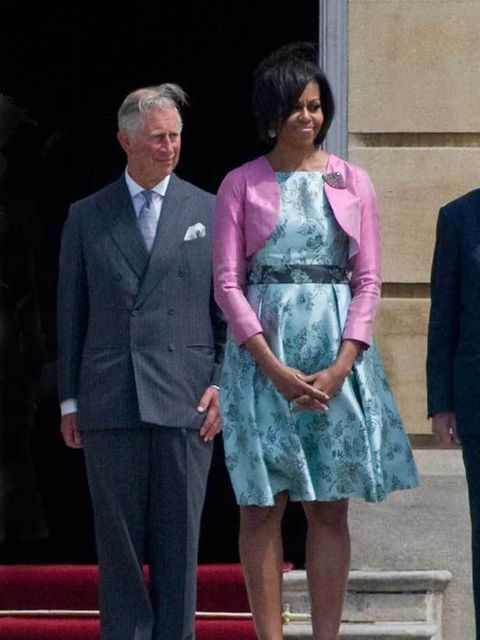 """<p>First Lady <a href=""""http://www.elleuk.com/starstyle/style-files/(section)/michelle-obama"""">Michelle Obama</a> in Barbara Tfank & <a href=""""http://www.elleuk.com/content/search?SearchText=Prince+Charles&SearchButton=Search"""">Prince Charles</a> at B"""