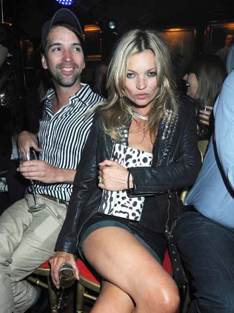 "<p><a href=""http://www.elleuk.com/starstyle/style-files/(section)/Kate-Moss"">Kate Moss</a> channels trademark rock chick with studded leather and animal print for the Lady Gaga special performance at Annabel's in London, May 2011.</p>"