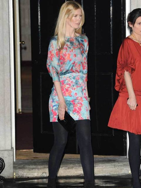 <p> Claudia Schiffer at a Downing Street party, 21 February 2011</p>