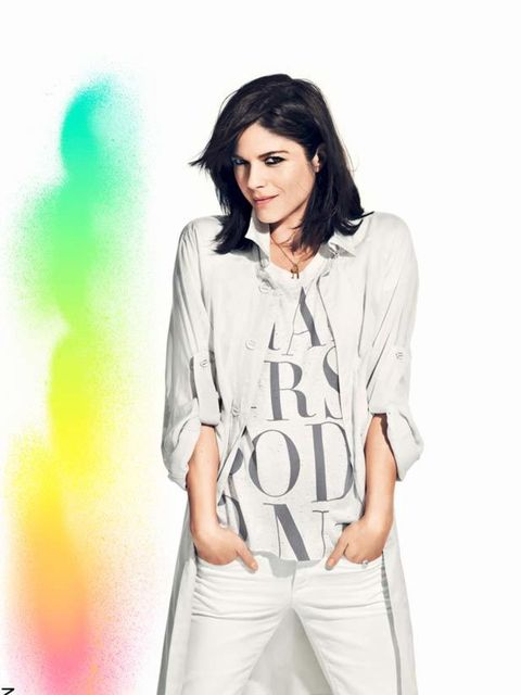 """<p><a href=""""http://www.elleuk.com/starstyle/style-files/%28section%29/selma-blair"""">Selma Blair</a> wearing her Fashion Against AIDS t-shirt designed to raise awareness and money for AIDS projects around the world</p>"""