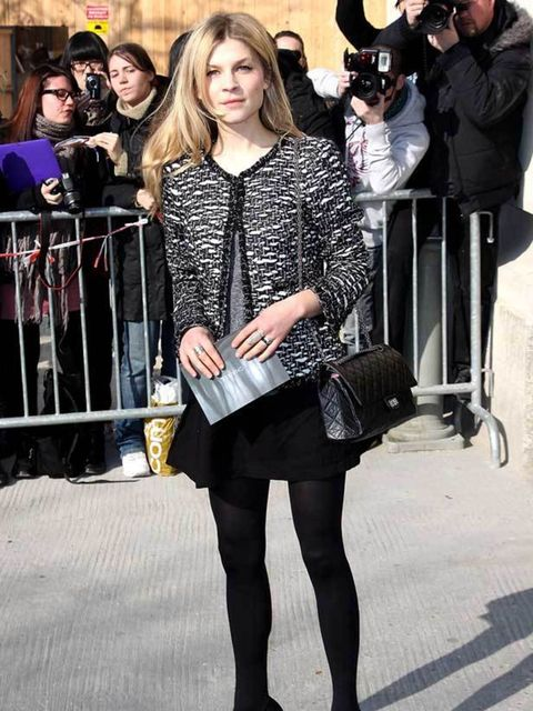 "<p><a href=""http://www.elleuk.com/starstyle/style-files/%28section%29/clemence-poesy"">Clemence Poesy</a> arriving at the Chanel show,  8 March 2011</p>"