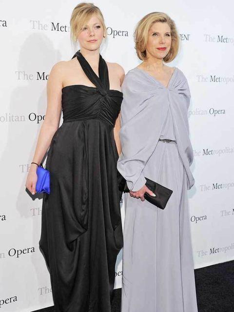 <p>Lily Cowles & Christine Baranski at the Metropolitan Opera gala premiere of 'Rossini's Le Comte Ory'</p>