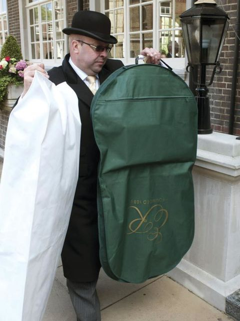 <p>Part of the Middletons wedding wardrobe is delivered to the Goring Hotel ahead of tomorrow's Royal Wedding</p>
