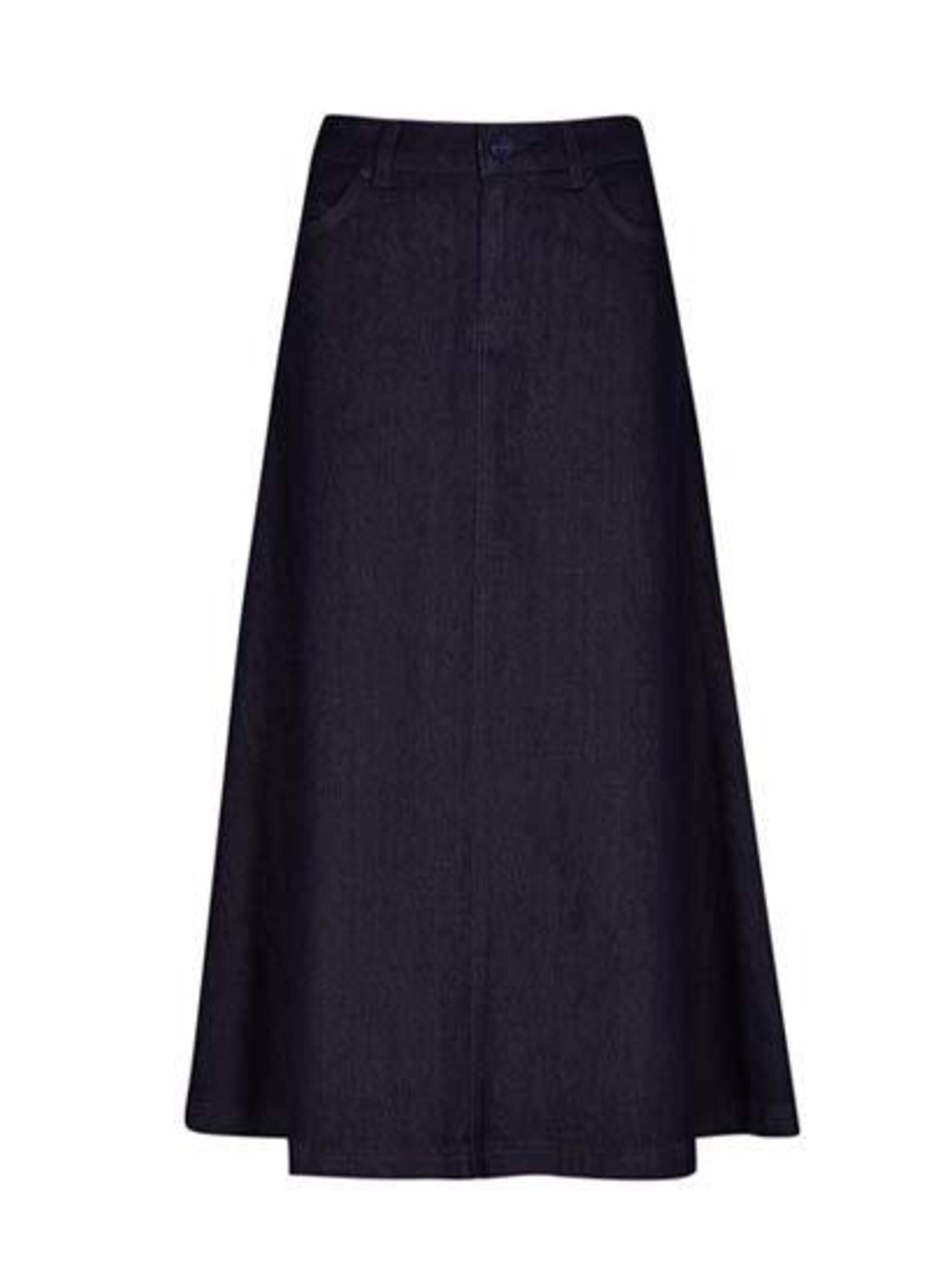<p>Throw back to the 90s with this long denim skirt from M&S, £39.50.</p>