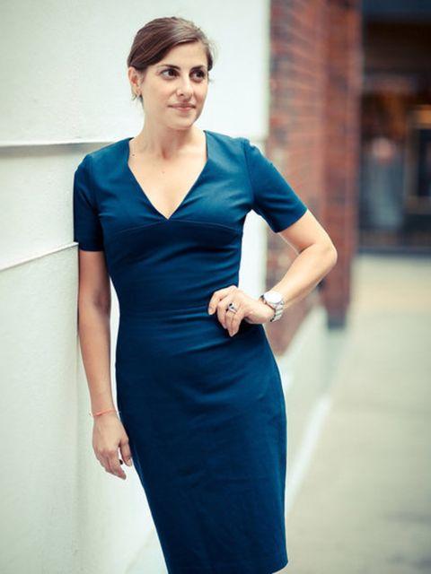 Christina Simone wears navy sheath dress, £89