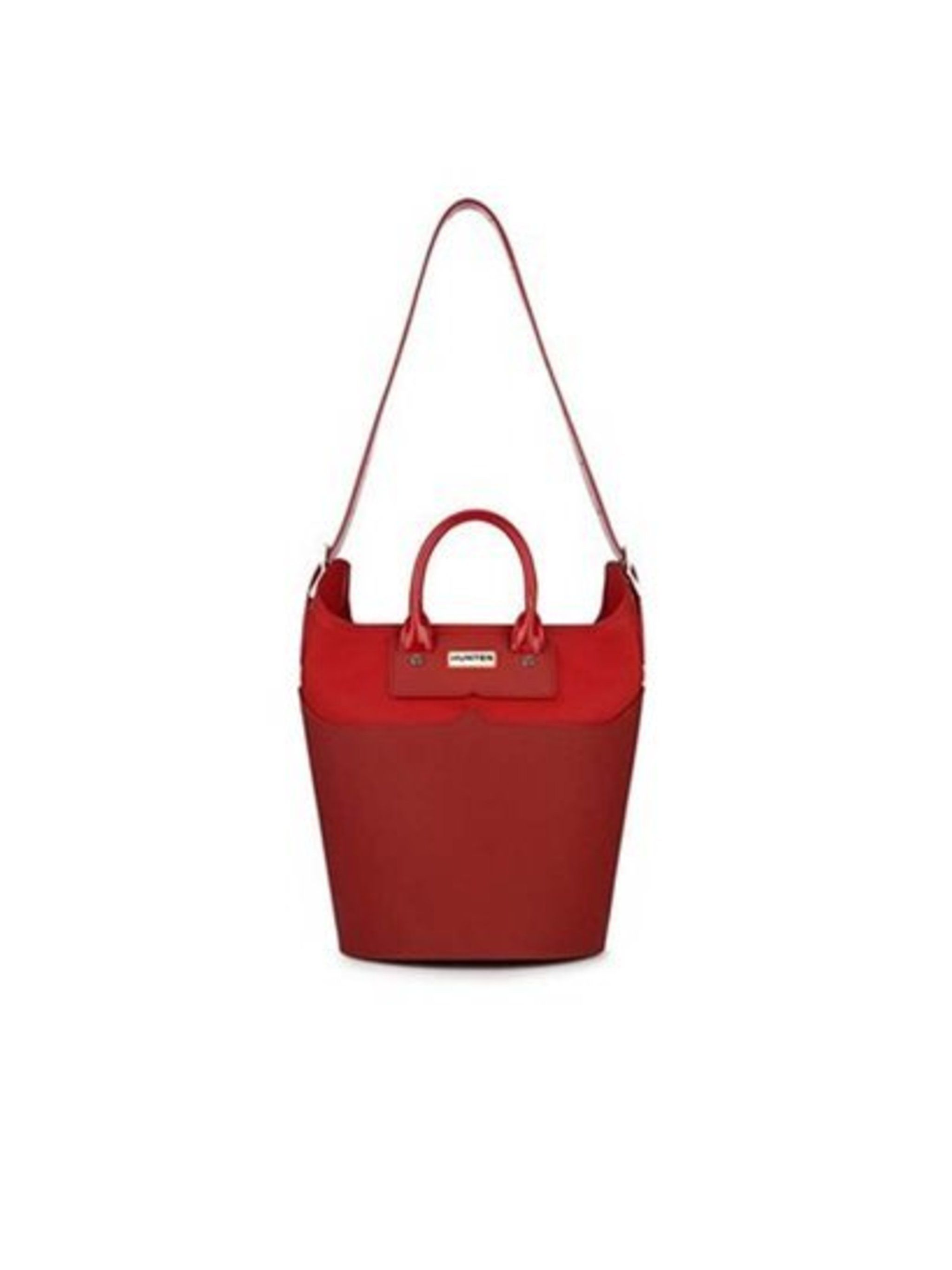 Hunter waterproof bag in military red, £220
