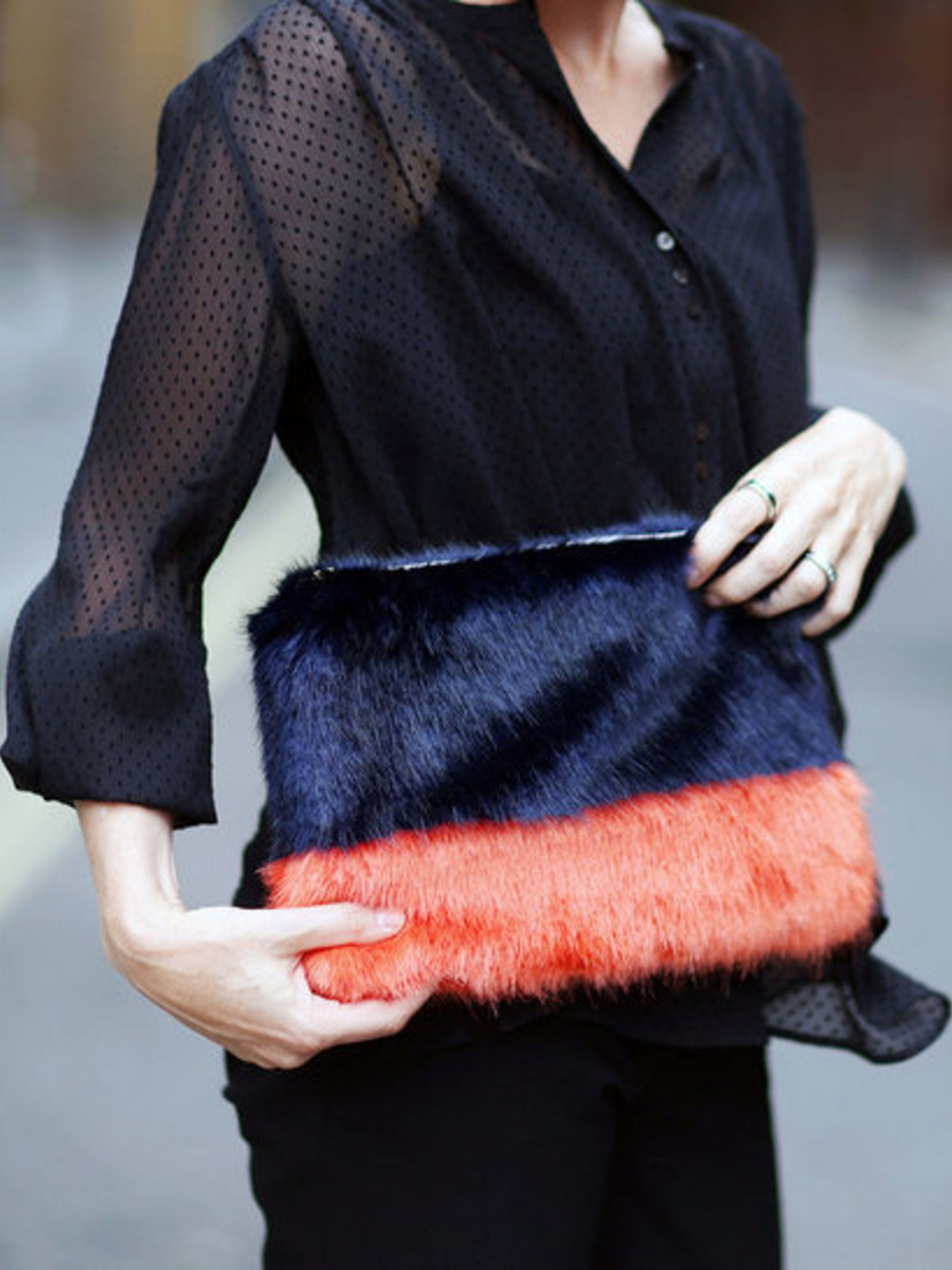 Lorraine Candy wears navy and orange faux fur Shrimps clutch, &pound&#x3B;185