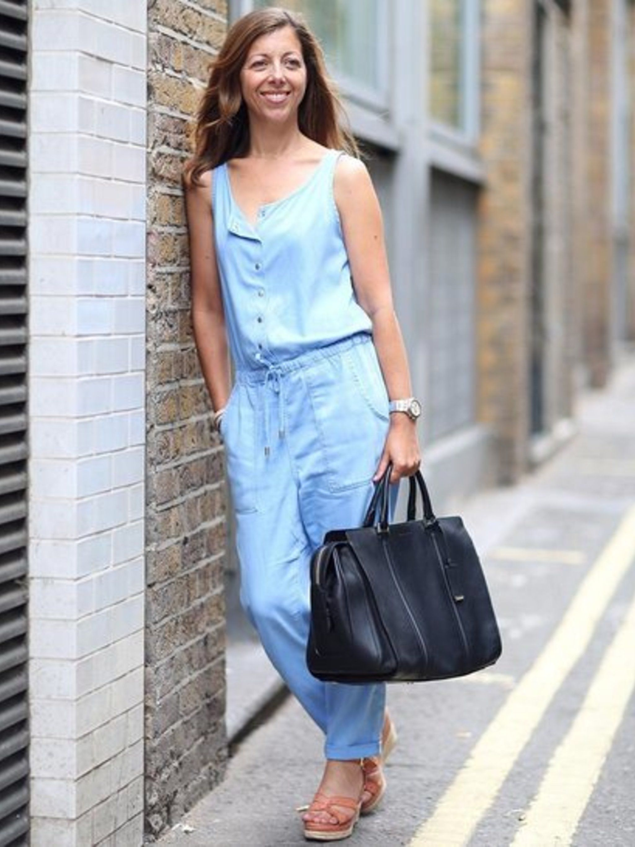 Kirsty Dale wears black leather bag by Hugo Boss, &pound&#x3B;800