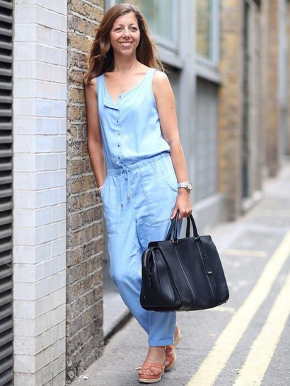 Kirsty Dale wears black leather bag by Hugo Boss, £800