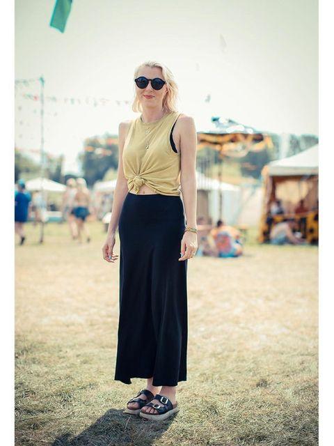 Izzy wears American apparel skirt, NEUW top, Topshop shoes.