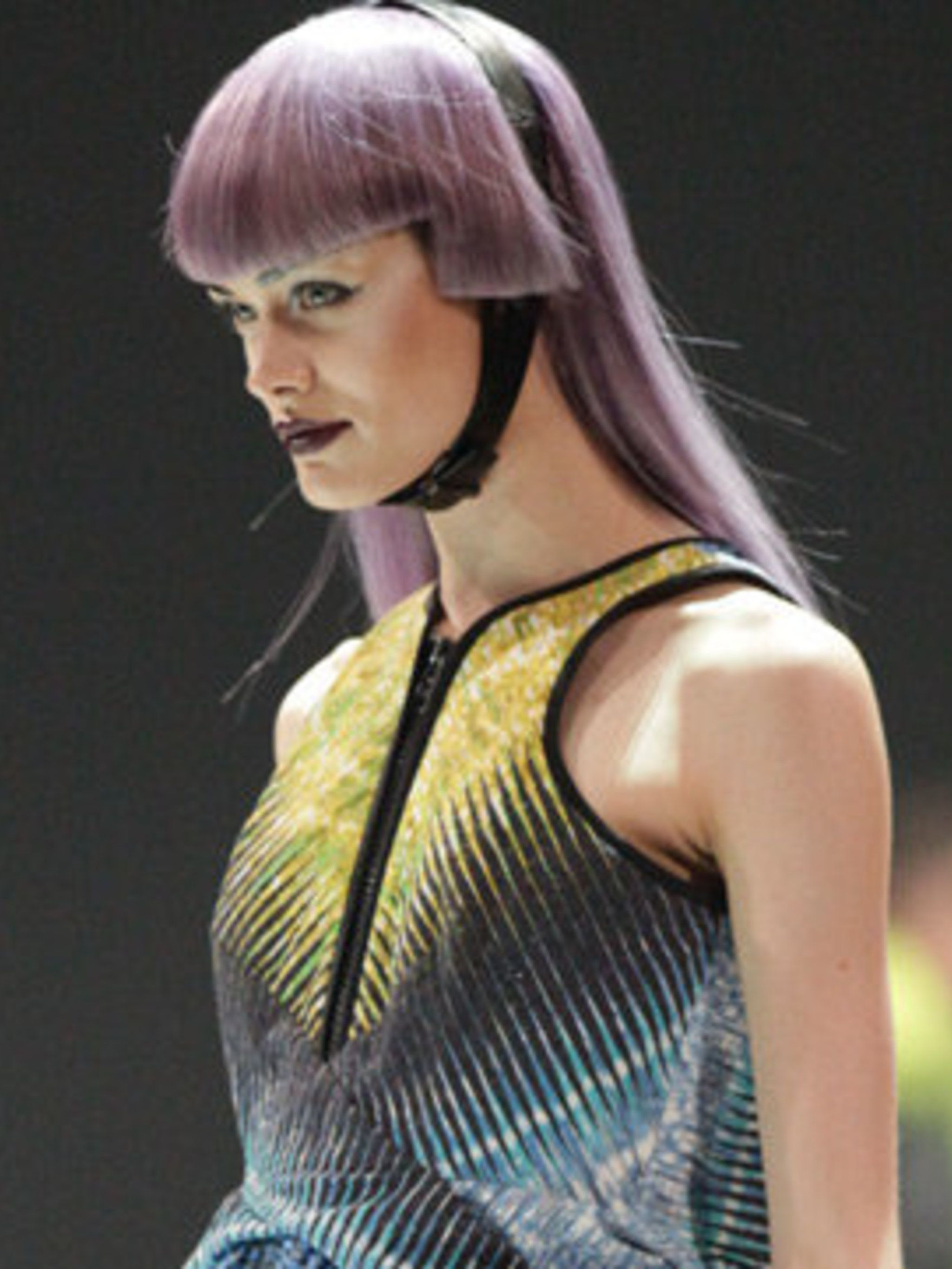 <p>A model on stage at the L'Oreal Colour Trophy Awards</p>