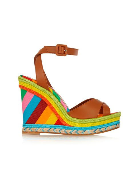 """<p><a href=""""http://www.net-a-porter.com/product/507640/Valentino/printed-leather-raffia-and-canvas-wedge-sandals"""" target=""""_blank"""">Valentino</a> wedges, £340</p>"""