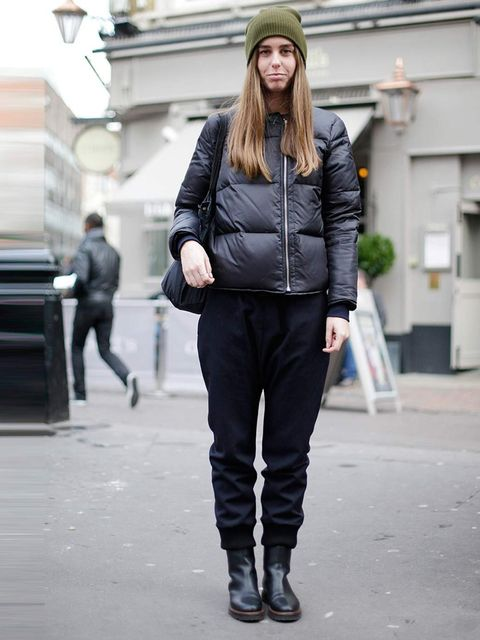 <p>Alexa, 23, Works for Cos. Acne jacket, Marni trousers and boots, Topshop hat, Muji bag.</p>