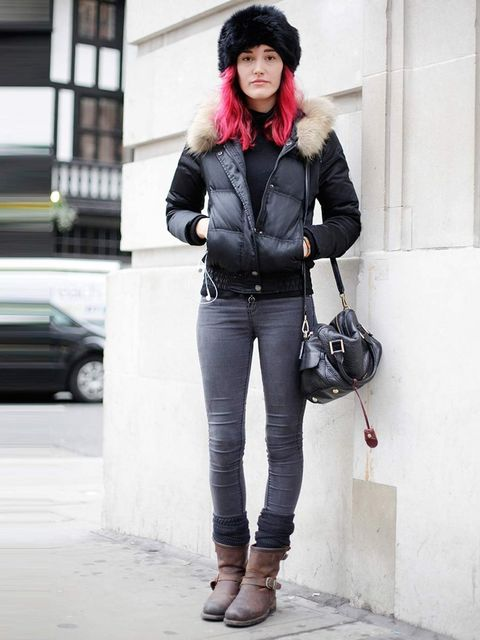 <p>Ljiljana, 22. Moncler jacket, Topshop jeans, vintage hat, Paul Smith bag.</p>