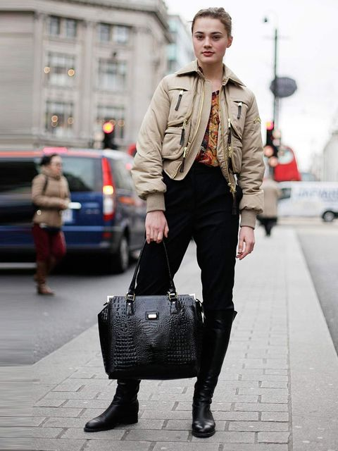 <p>Veronica, 21, Model. Dsquared jacket, Zara shirt, Stella McCartney trousers, Mattoli boots and bag.</p>