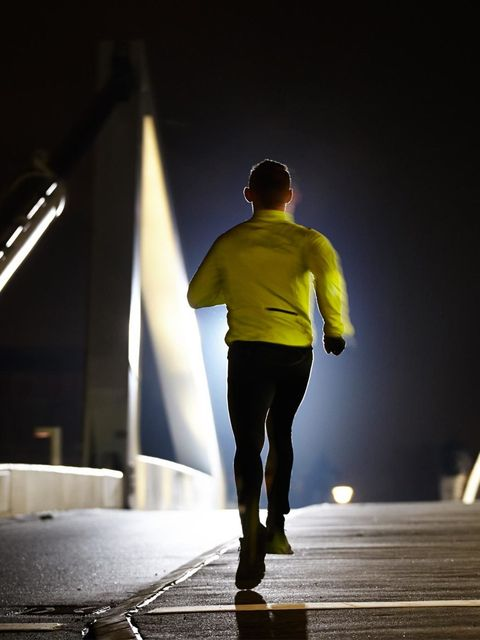 "<p><strong>Be visible</strong></p><p>Make sure other runners and vehicles can see you. Invest in a head lamp for hands-free light, and wear a reflective vest. It's chic to be safe.</p><p><em><a href=""http://www.elleuk.com/beauty/running/kit-for-running-in"