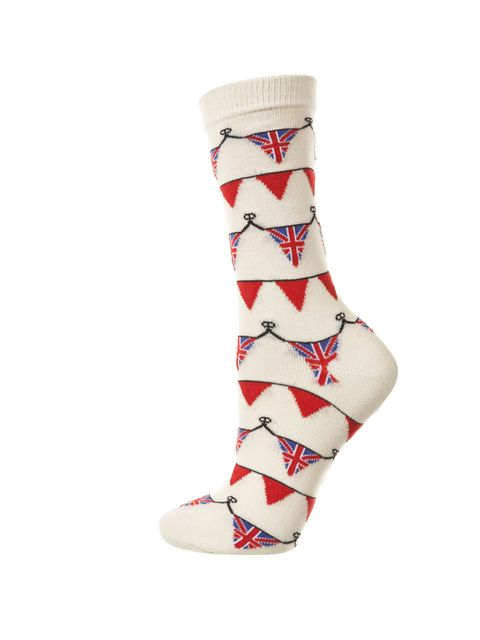 "<p>Topshop Jubilee bunting socks, £3.50</p><p><a href=""http://shopping.elleuk.com/browse?fts=topshop+bunting+socks"">BUY NOW</a></p>"