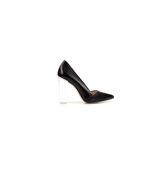 """<p><a href=""""http://www.zara.com/webapp/wcs/stores/servlet/product/uk/en/zara-S2012/189510/677521/COURT%2BSHOE%2BWITH%2BMETHACRYLATE%2BHEEL"""">Zara</a> persex heel court shoes, £79.99</p>"""