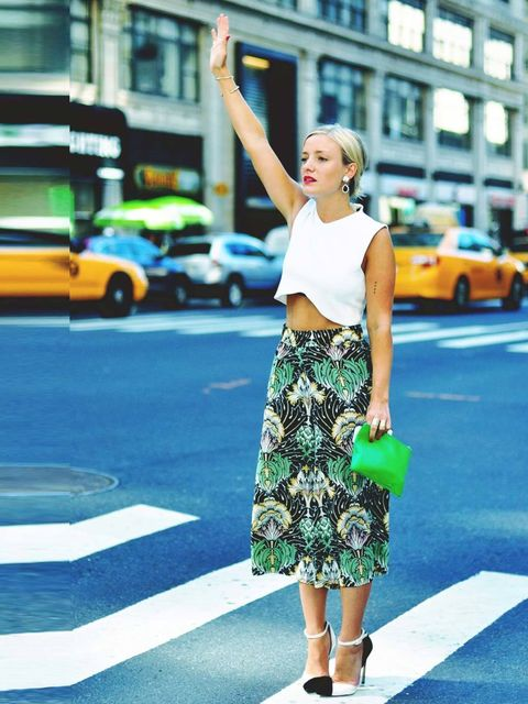 <p>On way to Gianvito Rossi lunch, Organic by John Patrick show and Frame Denim PresentationWearing Suno printed pants, White Zara top, Gianvito Rossi Shoes, Comme des garçons clutch, Dannijo Earrings, Jennifer Fisher bracelets</p>