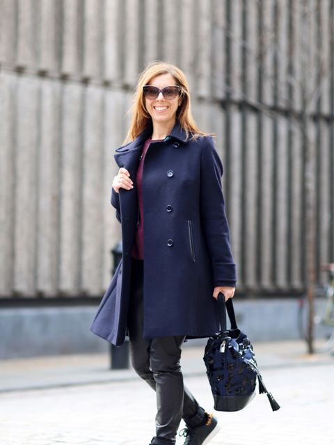 <p>Kirsty Dale - Executive Fashion & Beauty Director</p>  <p>M&S Coat, Gap jumper, Selected Femme leather trousers, Topshop socks, Adidas trainers, Louis Vuitton bag and Bottega Veneta sunglasses.</p>