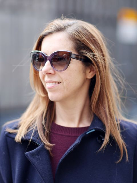 <p>Kirsty Dale - Executive Fashion & Beauty Director</p>  <p>M&S Coat, Gap jumper and Bottega Veneta sunglasses.</p>