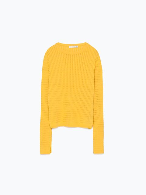 "<p><a href=""http://www.zara.com/uk/en/new-this-week/woman/short-cable-knit-jumper-c363008p2591024.html"" target=""_blank"">Zara </a>knit, £29.99</p>"