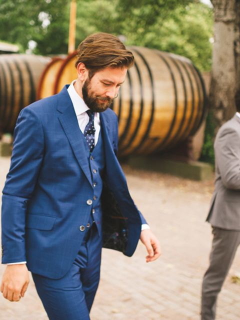 "<p>For his suit, Tom wanted something in a bold colour which would be set off against the sunny summer vineyard landscapes - so went for this beautiful blue suit from <a href=""http://www.paulsmith.co.uk"" target=""_blank"">Paul Smith</a>.</p>"