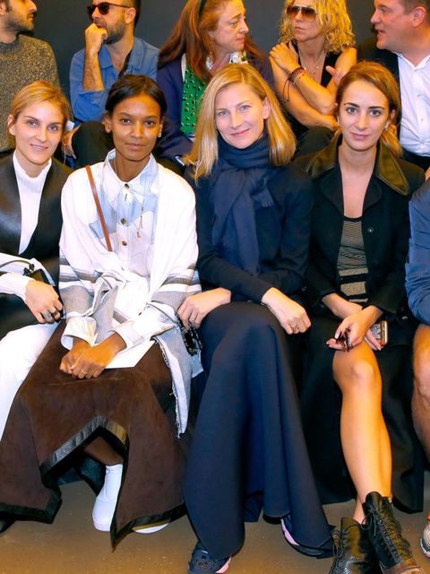 Gaia Repossi, Liya Kebede, Elizabeth von Guttman, Alexia Niedzielski and Juergen Teller attend the Celine s/s 16 show.