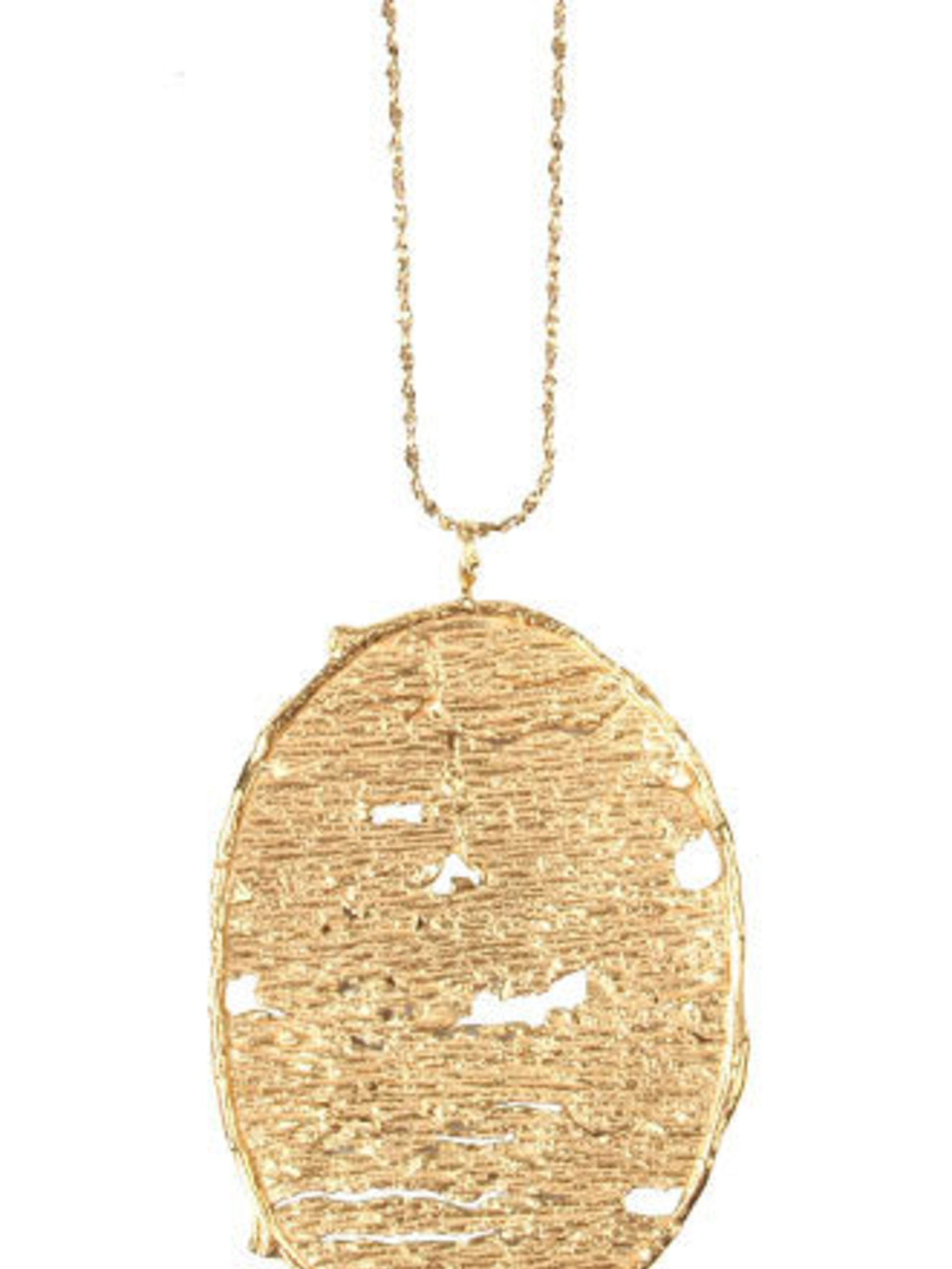 """<p>This gold pendant had team ELLE swooning. It will go with everything and is bound to attract plenty of compliments.</p><p>Necklace, £136 by Catherine Weitzman exclusive to <a href=""""http://www.econe.co.uk/Necklaces/Designer-Necklaces/Organic-Form-Drop-P"""